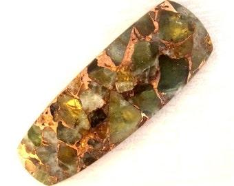 Peridot and Bronze Freeform Cabochon