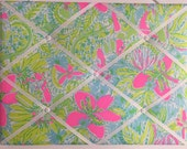 New memo board made with Lilly Pulitzer Coconut Jungle fabric