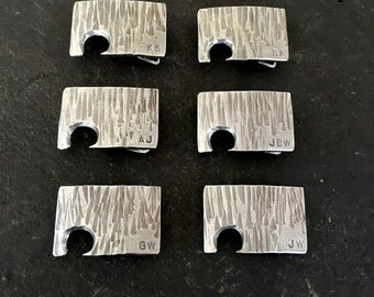 Groomsman Gift, Wedding Favor, Personalized Stainless Steel Bottle Opener Buckle - Hammered Texture