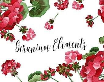 Geraniums Elements Digital Download