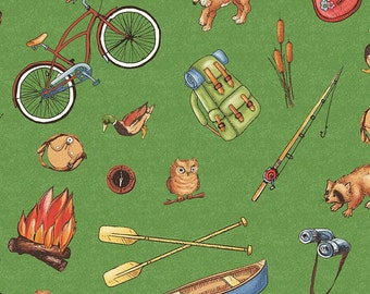 FABRIC PAPER DOLLS On the Road Camping Supplies 1/2 yard