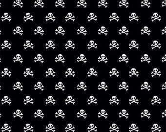 Black Skull & Crossbones Fabric ~ Military Max by Riley Blake Designs ~ Woven Cotton by the Yard