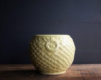 Vintage McCoy Jardiniere in the Basket Weave and Loop Design Warm Yellow Glaze Autumn Decor Flower Planter Vase 1940s Era