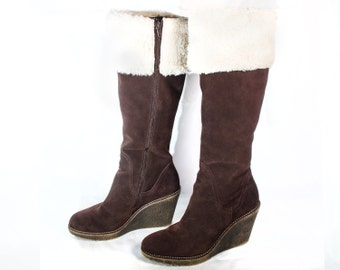 VTG 80's Mocha Suede Knee High Boots size 8 1/2 Womens Wedge Platforms Zip Up Faux Fur Top Cuff