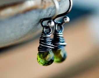 Peridot Earrings, Drop Earrings, Wire Wrapped, Sterling Silver, August Birthstone, Lime Green, Dangle Earrings, Peridot Jewelry, PoleStar