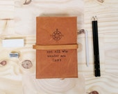 Leather Journal - Leather Sketchbook Cover - not all who wander are lost quote - monogram - custom - personalize