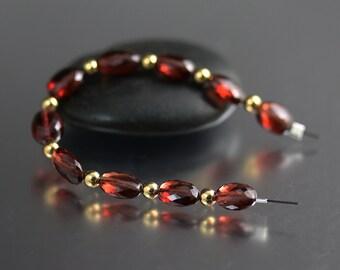 AAA Garnet Oval Bead Set of 10