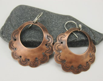 Large Stamped Copper Hoop Earring with Sterling