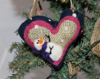 Snowman Heart Needle Felted Prim Snowman Heart Felted on Burlap #758