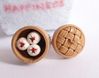 Chinese Dim Sum Cufflinks Set - Yum Cha Cuff links - Miniature Food Jewelry Collectable - Schickie Mickie Original 100% Handmade