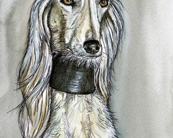 Saluki DOG PRINT