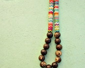 Very Long Wood and Multicolor Howlite Stone Beaded Necklace: La Boheme