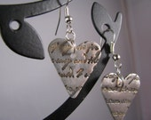 Pure Silver romantic heart love letter earrings