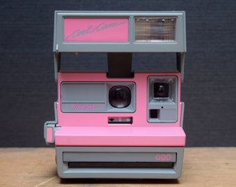 Polaroid Cool Cam, Pink and Grey, 1980s Instant Camera, With Neckstrap