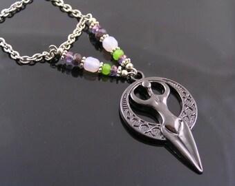 Goddess Necklace, Moon Goddess Pendant and Czech Bead Necklace, Black Goddess Necklace, Stainless Steel Goddess Jewelry