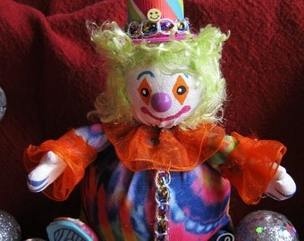 Clown! Squiggles the Clown! Handmade One of a Kind Art Doll - Roly Poly Cute Clown Friend! OOAK!