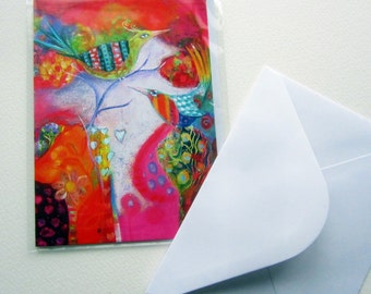 Hot Birds, greetings card, original whimsical  FREE SHIPPING with another item