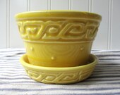 "Vintage yellow McCoy pottery violet pot flower pot flowerpot planter Greek key 3 1/4"" x 4"" with attached saucer N2"