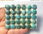 Summer Sale Rare Natural Turquoise 10mm Cabochon, Rare Snake Skin Pattern, QTY2, From Blue Diamond Mined Nevada ,