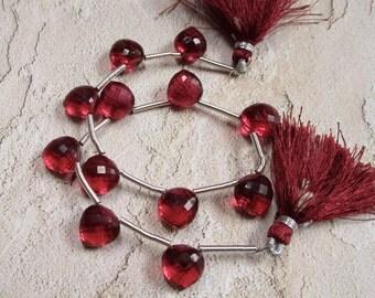 Rubellite Pink Tourmaline Quartz  Briolette Beads , 10mm Fancy Shape Gemstone