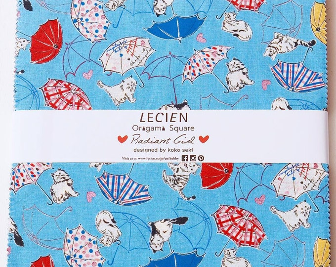 "Radiant Girl 42-pcs 10"" x 10"" layer cake fabric squares Origami Pack - by Koko Seki for Lecien Japan"