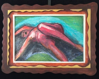 Pink Nude Woman original oil painting with custom dimensional painted frame