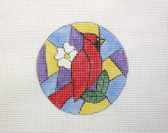 Stained Glass Red Bird Cardinal Handpainted Needlepoint Canvas
