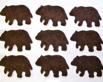 Set of 9 Lodge/Cabin Brown Bear Fabric Appliques