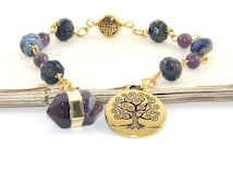 Meditation Beads, Gemstone Beads & Tree of Life Pendant - Hand-held Prayer Beads