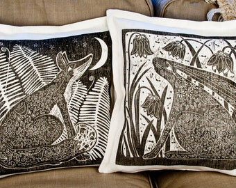 Mothers day Gift, cushion covers, set of 2, Hare, Fox, black, grey, charcoal, white, linen fabric, linocut, home interior, moon, stars