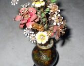 Small Cloisonne Vase with Enamel Flower Bouquet and Wood Pedestal Stand - Asian Decor - Vintage Enameled Metal Bud Vase, Black Gold Design