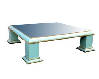 Fabulous Antonio Pavia Monumental Brass Mirror Top Coffee Table by AP