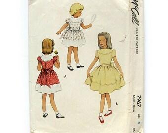 1950s Girls Dress Vintage Pattern - Child's Dress with Scalloped Yoke and Skirt Border - McCall's  7967 // Size 4