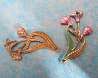Vintage Brass Stampings supplies for making jewelry brass findings lot Wholesale Lots Art Nouveau pieces 2 pc