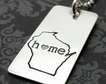 Wisconsin State Necklace - Home Is Where Your Heart Is Collection - Custom State Jewelry by EWD - Travel Gifts for Her