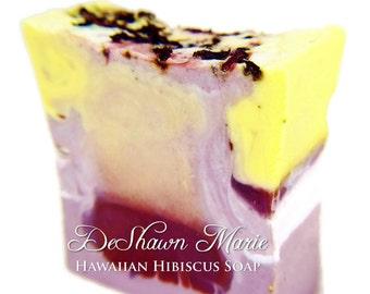 SOAP - Hawaiian Hibiscus Soap, Vegan Soap, Tropical Soap, Soap Gift -Handmade Soap - Wedding Favors - Valentine's Gift