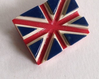 Very Cool Bakelite Union Jack Pin, Flag of England Bakelite Pin
