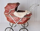 digital backdrop - red pram - newborns and babies
