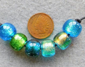 6 Assorted Green and Aqua Sparkling Medium Crystal Ball Dichroic Lampwork Beads by Dee Howl Beads