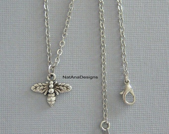 Silver Bee Necklace/Bumble Bee Silver Necklace/