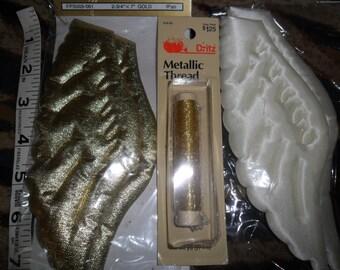 3 Sealed pkgs, 2 of ANGEL Wings 1 30 yard pkg of Gold Metallic thread