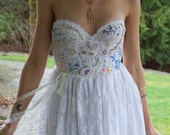 Meadow Gown... wedding dress formal prom boho whimsical woodland corset country vintage hand embroidered eco friendly