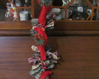 Long Wall Hanging Christmas Red Cardinal..Homespun with Berries, Cinnemon,Bell