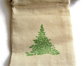 6 Muslin Bags, Pine Tree Stamped in Green, gift Bags, Packaging, 3x4 Inches, Hand Stamped, Party Favor Bags
