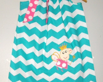 Peppa the Pig  pillowcase  dress  Turquoise chevron dresspillowcase dress 3,6,9,12,18 month 2t,3t,4t,5t,6.7.8