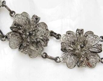 Silver Filigree Flower Bracelet Silver Heart Vintage Jewelry B7221