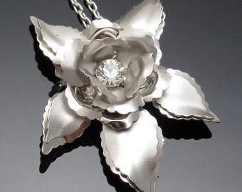 Vintage Rhinestone Flower Pendant Necklace Thirties Vintage Jewelry N7444
