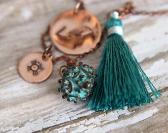 50% Off Bohemian Charm Necklace, Teal Blue Green, Copper Stamped, Tribal Charms, Hand Stamped, Verdigris Green Copper, Green Silk Tassel