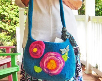 "A Turquoise wool Felted Hand or Shoulder Bag ""Dragonfly"""