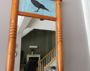 Old wood framed mirror with black crow print- solid, beautiful, ready to hang